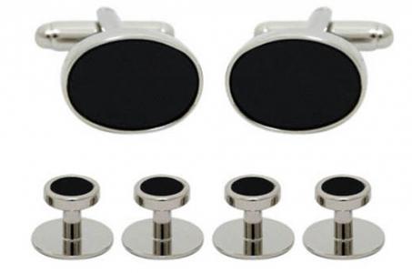 4601 Luxury cufflinks and stud set in silver trim
